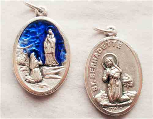 Blue Enamel Our Lady of Lourdes Medal