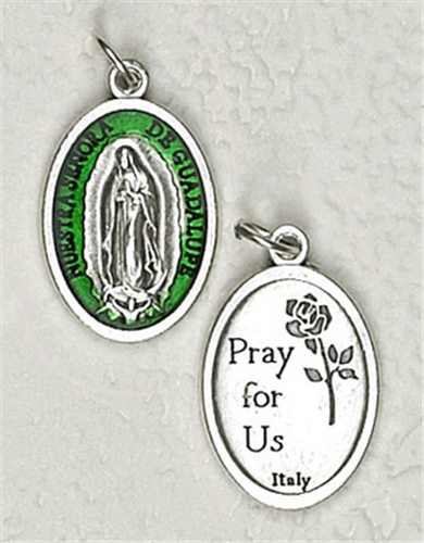 Green Enamel Lady of Guadalupe Medal