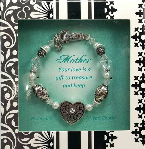 Mother Stretch Crystal and Bead Bracelet