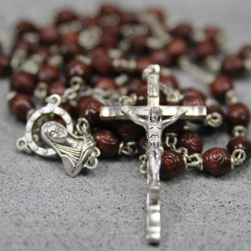 22 Inch Men's Rosary with Carved Wood Beads, Natural