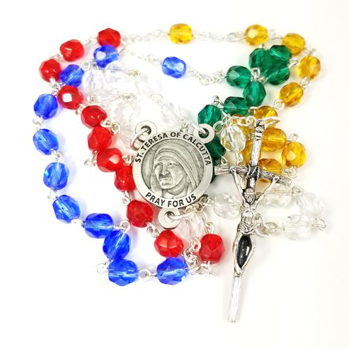 St. Teresa World Mission Crystal Bead Rosary