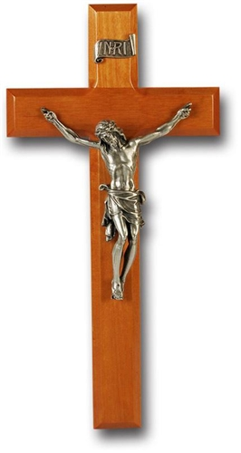 11 Inch Cherry Wood and Pewter Wall Crucifix