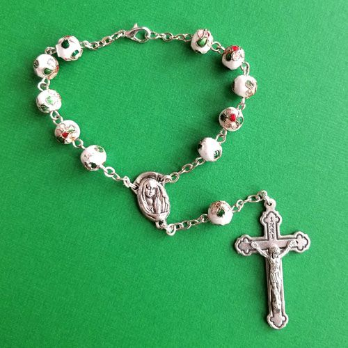 White Cloisonne Auto Rosary