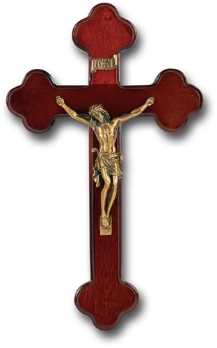 10 Inch Dark Cherry Wood and Gold Wall Crucifix
