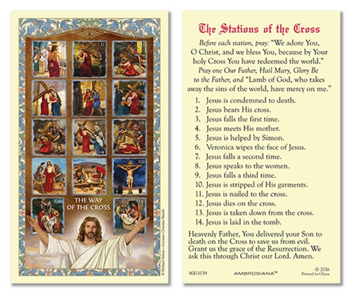 The Stations of the Cross Laminated Holy Card