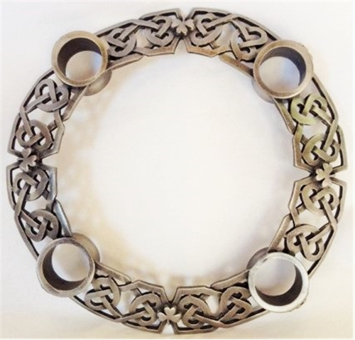 6 Inches Pewter Celtic Braid Advent Wreath with candles