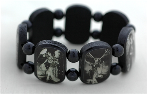 7 Archangels Black Wood Bracelet