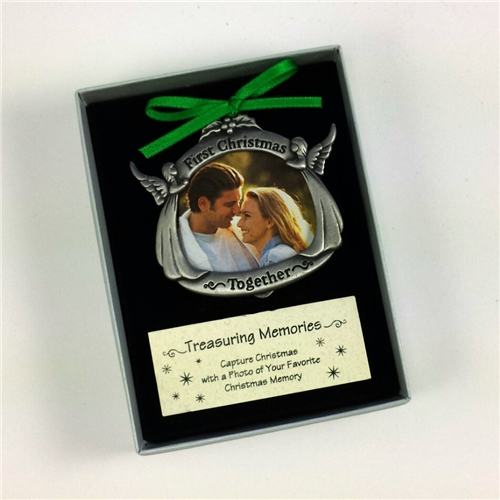 First Christmas Together Picture Frame Pewter Ornament