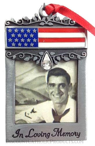 Flag Photo Memorial Ornament