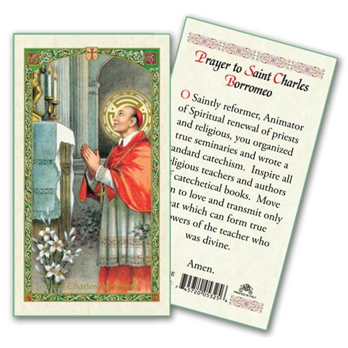 Saint Charles Borromeo Laminated Prayer Card