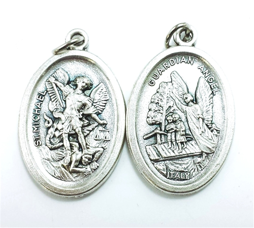 St. Michael & Guardian Angel Inexpensive Oxidized Medal