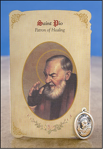St Pio (General Healing) Healing Holy Card with Medal