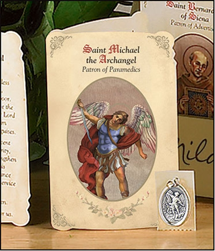 Saint Michael the Archangel (Paramedics, EMT) Holy Card with Medal