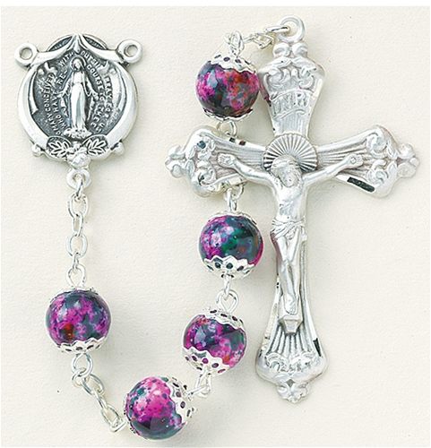 Pink Marble Double Capped Glass Bead Rosary