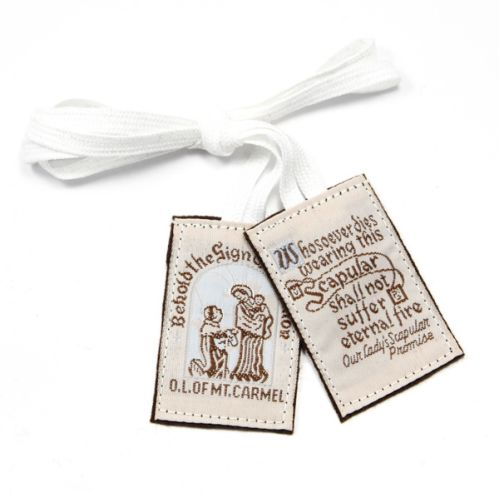 Traditional Brown Wool Scapular White Cord - Washable