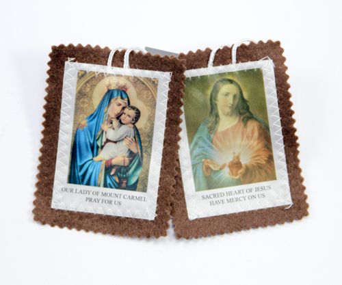 Large Our Lady of Mt Carmel Scapular - Brown Border