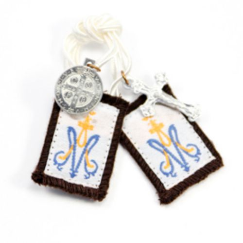 Children's Brown Wool Scapular, White Cord