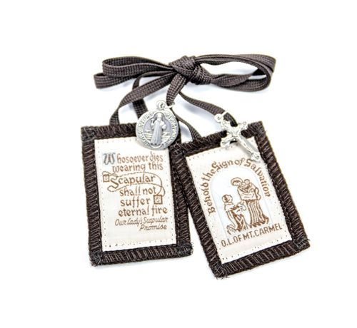 Brown Scapular with Crucifix & St. Ben Medal