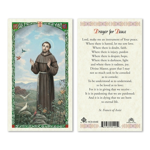 Saint Francis - Prayer for Peace - Laminated Prayer Card