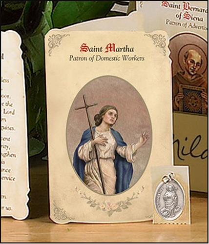 Saint Martha (Domestic Workers) Holy Card with Medal